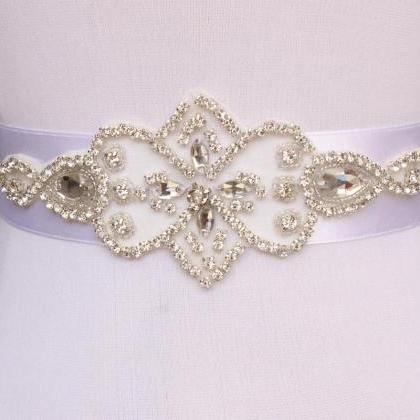 Simple Bridal Sash Handmade Crystal..