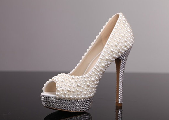 Pearl High Heel Shoes Rhinestone White Bridal Wedding Lady Formal Occassions Dress Party Prom