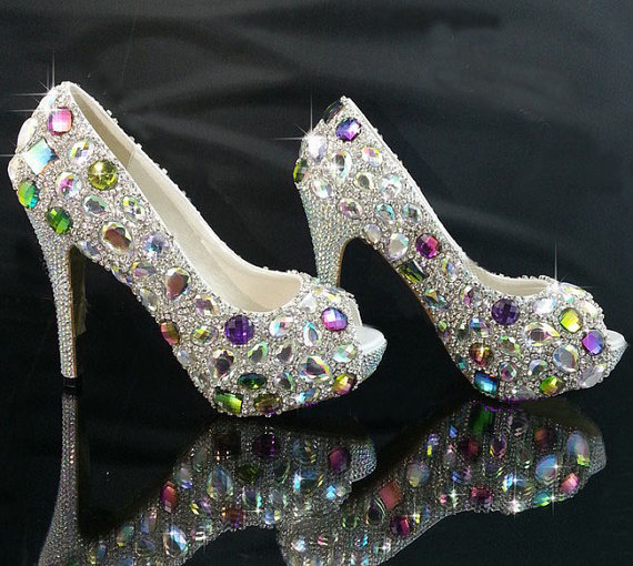 Bridal bling high heel crystal rhinestone shoes Women Evening Prom Party  club Bar shoes Wedding Bridesmaid c5c9ef2a8626
