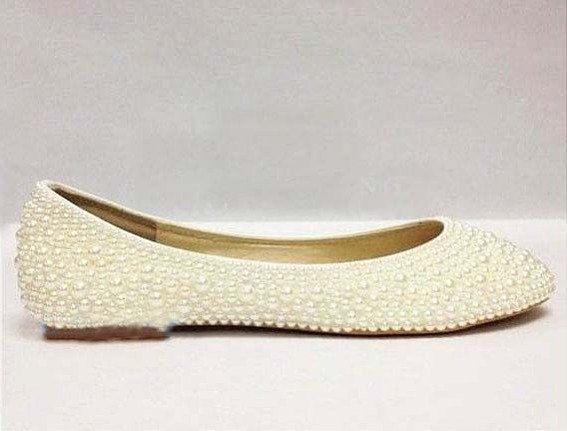 6838c6c6ad76 Ivory pearl wedding shoes bridal ivory flats closed toe flat bridal shoes  pearl beaded flats wedding