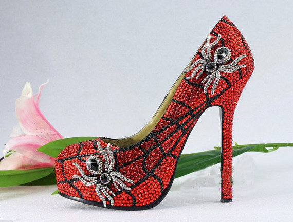 Handmade Glitter Red Crystal Bridal Shoes Bling Rhinestone Party Prom Shoes  Luxury Spider Shoes Platforms Wedding Pumps 3bb356390