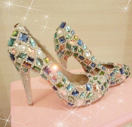 Bling Unique Crystal Diamond Wedding Bridal Shoes High Heel Waterproof  Graduation Party Prom Evening Shoes db0297551463