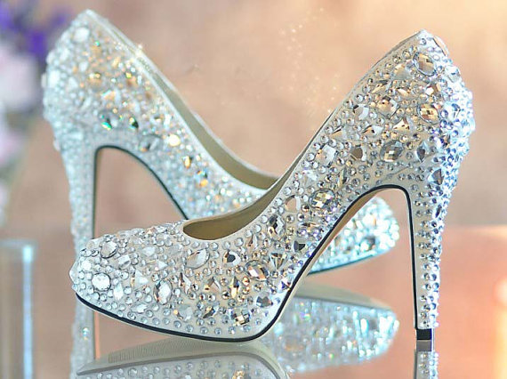 52597b3ffcfc42 Nice Blue crystal lady s formal shoes Jeweled Beaded High Heel Bridal  Evening Prom Party Wedding Dress Bridesmaid Shoes