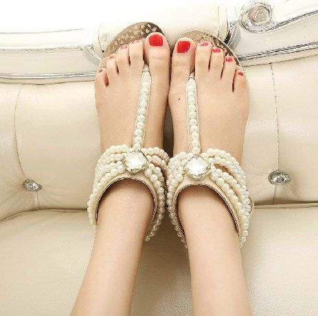 Newest 2015 Women Summer Bohemia Handmade Beaded Flats Shoes Female Sandals Fashion Pearl Rhinestone Wedding Flat