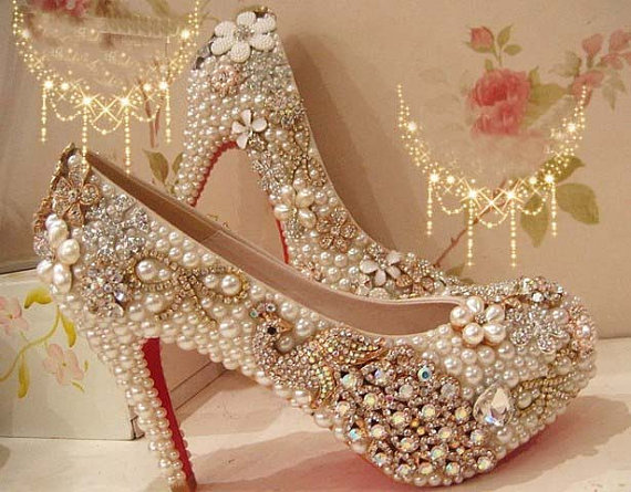more photos a4b90 79314 Fashion 2015 High Heel Wedding Shoes Pearl Peacock Rhinestone Women Shoes  Wedding Shoes Red Bottom Shoes