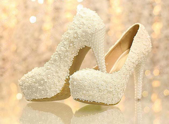 6beb5c9b7 New Arrival White Lace Wedding Dress Shoes High heels Bridal Shoes with  Pearls Party Prom Shoes Ladies Wedding Shoe