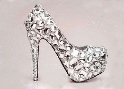 Luxury Bridal Shoes Silver Crystals Mix Gems Red Soles Shoes High ...