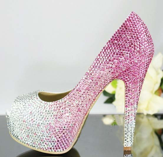 Handmade Crystal Rhinestone Bride Shoes Wedding Pumps Women Pink ...