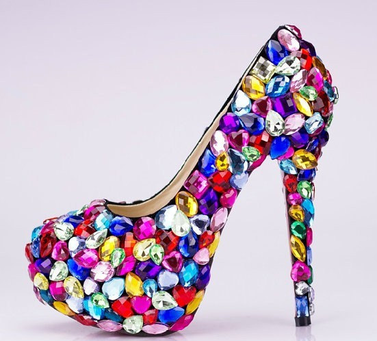 Candy Crystal Glitter Fashion Multicolor Wedding Shoes Las Platform High Heel Evening Nightclub Dancing Dress