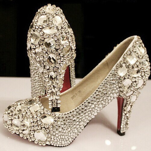 Bejeweled shoes New Arrival Elegant Wedding Shoes Fashion Crystal High Heels Glittering Platform Women Pumps Banquet Prom Shoe
