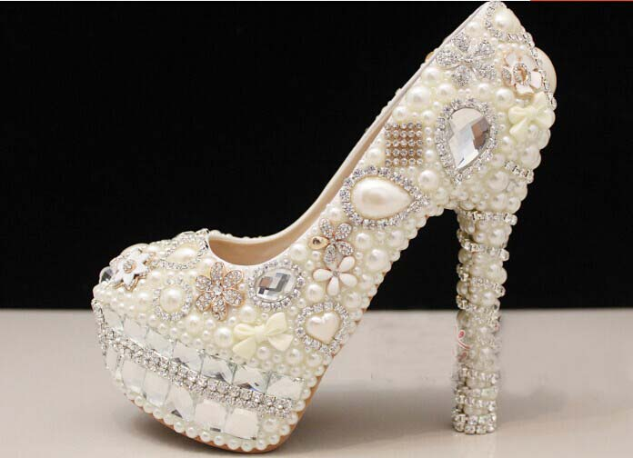 dacbbcf823 Unique Ivory Pearl Floral Dress Shoes Women Rhinestone Bridal Shoes Wedding  High Heels Shoes Party Prom Shoes Free Shipping