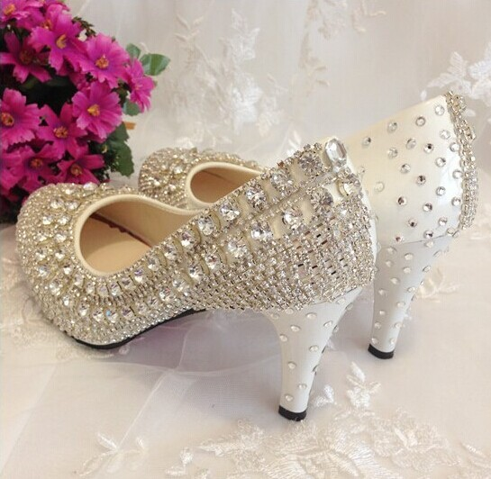 Rhinestone Wedding Shoes | Red Bottom Crystal Wedding Shoes High Heels Rhinestone Bridal Shoes
