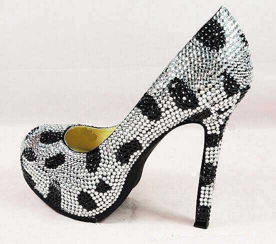 a6e8e5acad2d Fashion black white wedding Bridal shoes Cinderella Shoes Girl Dress Shoes  Party Prom Shoes for Wedding