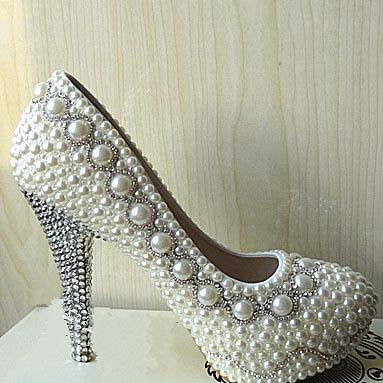 Customized ivory Pearl wedding party Bling heels bridal shoes bridesmaid shoes  crystal heels 20ac197b2189
