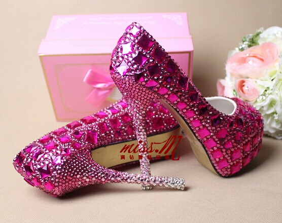 Wedding Heels With Rhinestones: Purple Rhinestone Bling Handmade Custom High Heels Peep