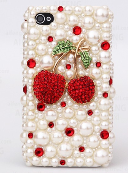 promo code bfa4b 9ba9e Cute Cherry Diamond Pearl Case Hard Back Mobile Phone Case Cover Rhinestone  Case Cover For Iphone 6s Case,iphone 6s Plus Case,iphone 6c Case,iphone ...