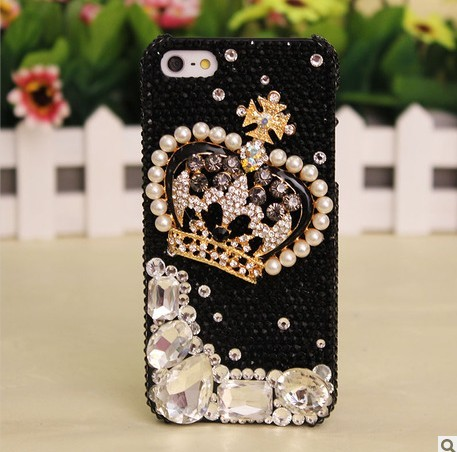 phone case with crystal crystal crown diamond hard back mobile phone case cover black