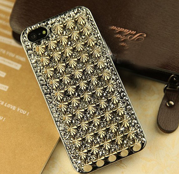 6c 6s plus Rivets diamond Hard Back Mobile phone Case Cover bling Case Cover for iPhone 4 4s 5 7 5s 6 6 plus Samsung galaxy s7 s4 s5 s6 note10 4