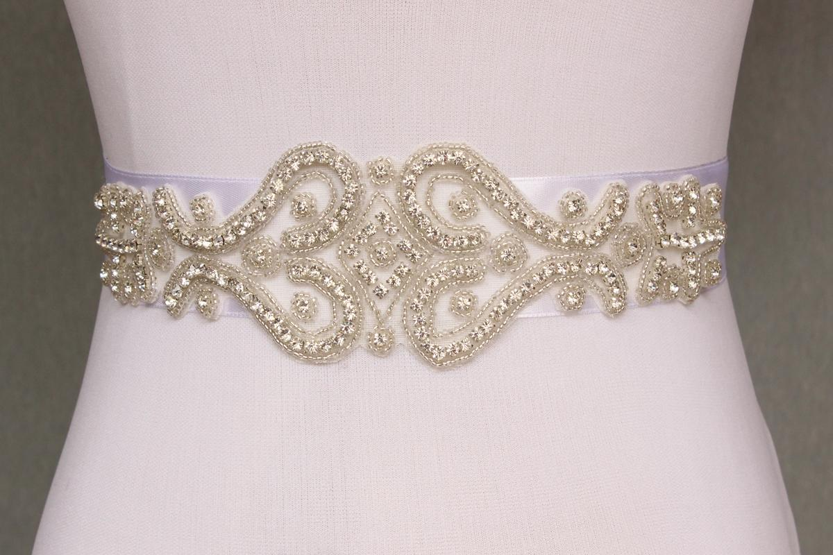 Bling handmade Crystal Rhinestone Czech Stones Beaded Wedding Bridal Sash Belt