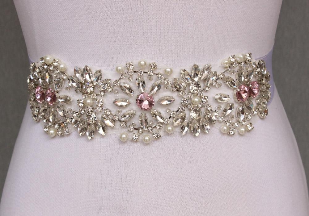 Fashion Bling Bridal Sash pearl And Rhinestone Bridal Waist Belt Beaded Wedding Accessories