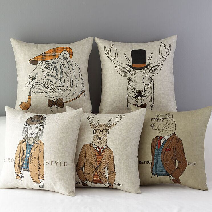 High Quality 5 pcs a set Anthropomorphic animals Printed Cotton Linen Home Accesorries soft Comfortable Pillow Cover Cushion Cover 45cmx45cm