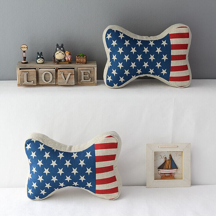 High Quality 2 pcs a set US flag headrests Cotton Linen Home Accesorries soft Comfortable Pillow Cover Cushion Cover 45cmx45cm