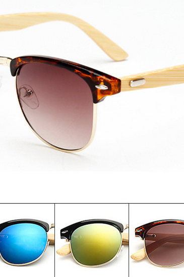 Half frame metal nose bridge glasses bamboo leg sunglasses UV400 retro glasses