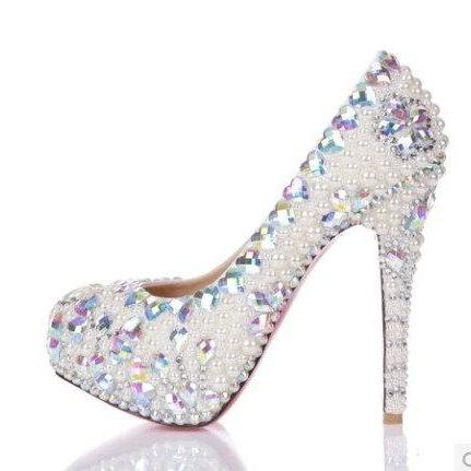 e57bd7c3c4ddd New Style High Quality Luxurious White Pearl Wedding Shoes Colorful Crystal  Heart High Heel Shoes Fo on Luulla