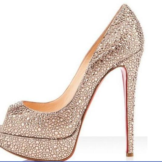 e6045ffcee Luxury Diamond Bridal Weddding Shoes High Heels Rhinestone Platform Prom  Pumps Red Soles Shoes