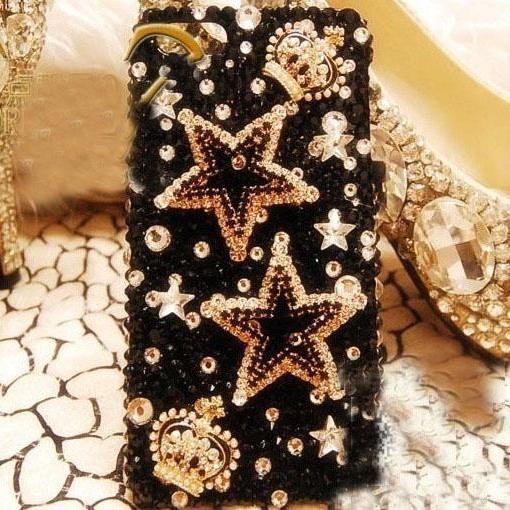 6c 6s plus Luxury diamond Crowne star Hard Back Mobile phone Case Cover sparkly crystal Rhinestone Case Cover for iPhone 4 4s 5 7plus 5s 6 6 plus Samsung galaxy s7 s4 s5 s6 note10 4