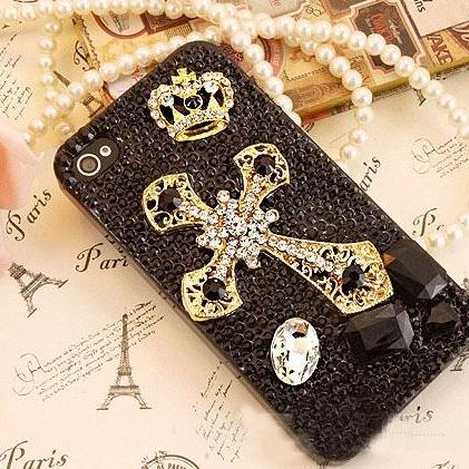 6c 6s plus Crowne Cross Hard Back Mobile phone Case Cover bling black crystal Rhinestone Case Cover for iPhone 4 4s 5 7 5s 6 6 plus Samsung galaxy s7 s4 s5 s6 note8.0 4