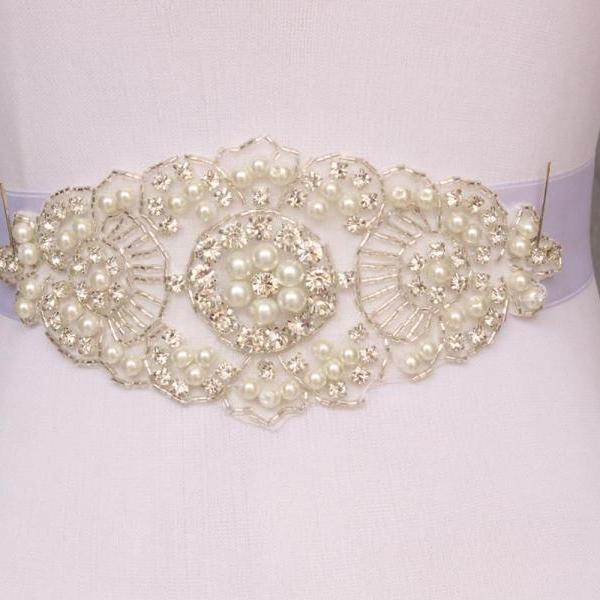 New handmade Brilliant Rhinestone And Crystal Beaded Wedding Bridal Sash Belt