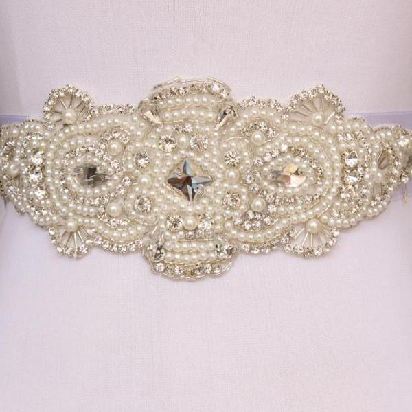 Bling Bling Bridal Sash pearl And Rhinestone Bridal Waist Belt Beaded Wedding Accessories