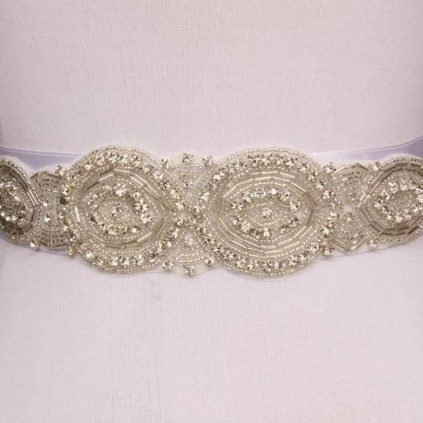 Hot sparkly handmade Crystal Rhinestone Czech Stones Beaded Wedding Bridal Sash Belt