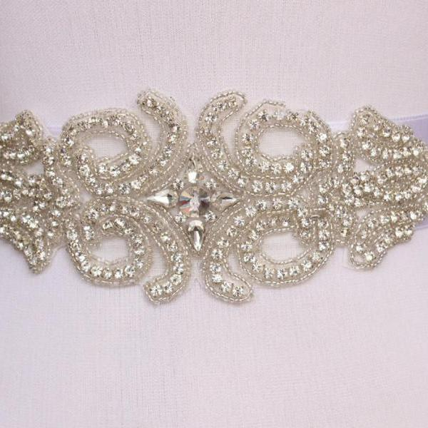 Handmade luxury Crystal Rhinestone Czech Stones Beaded Wedding Bridal Sash Belt