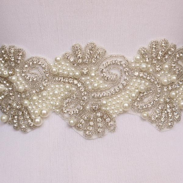 Bling Bridal Sash pearl And Rhinestone Bridal Waist Belt Beaded Wedding Accessories