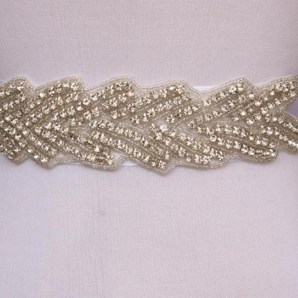 Leaf Bridal Sash Handmade Crystals Beads Gorgeous Exquisite White Wedding Accessories Bride Belt Sash