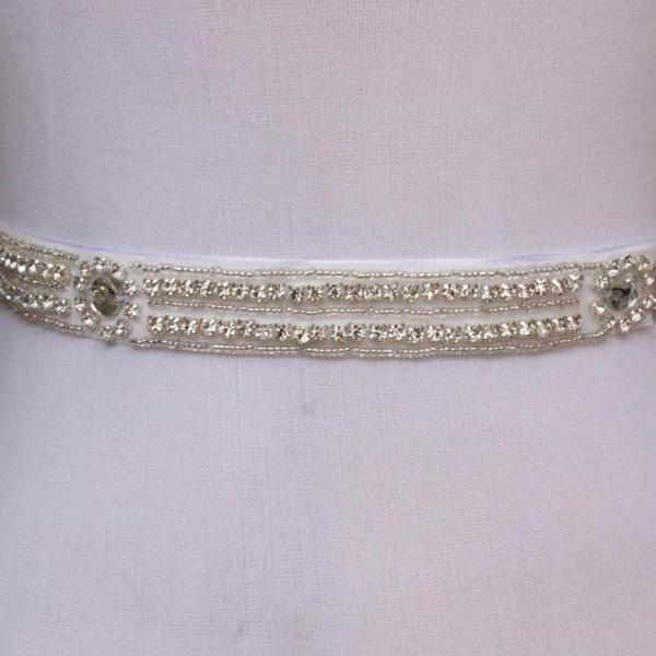 Simple Bridal Sash Handmade Crystals Beads Gorgeous Exquisite White Wedding Accessories Bride Belt Sash