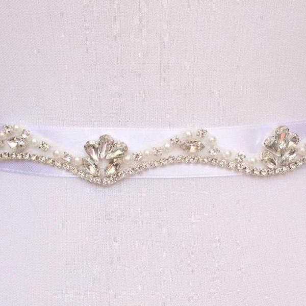 New Bling Bridal Sash pearl And Rhinestone Bridal Waist Belt Beaded Wedding Accessories