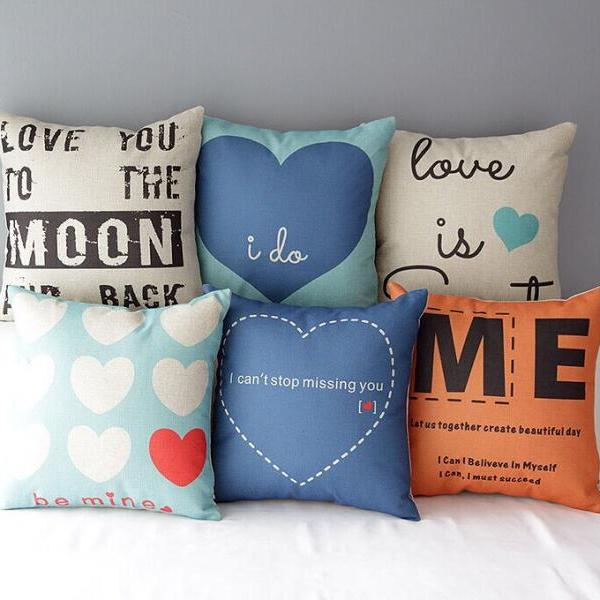 High Quality 6 pcs a set Blue Heart Series Printed Cotton Linen Home Accesorries soft Comfortable Pillow Cover Cushion Cover 45cmx45cm