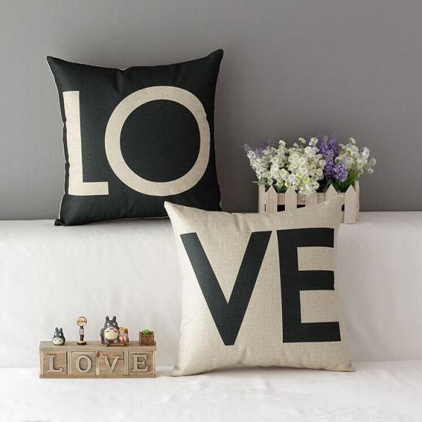 High Quality 2 pcs a set LOVE Cotton Linen Home Accesorries soft Comfortable Pillow Cover Cushion Cover 45cmx45cm