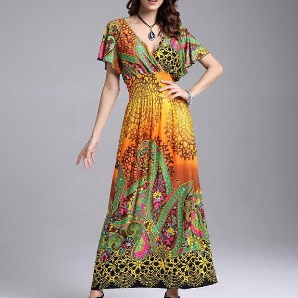 V-Neck new Summer European ice silk dress beachwear big swing lotus sleeve waist dress