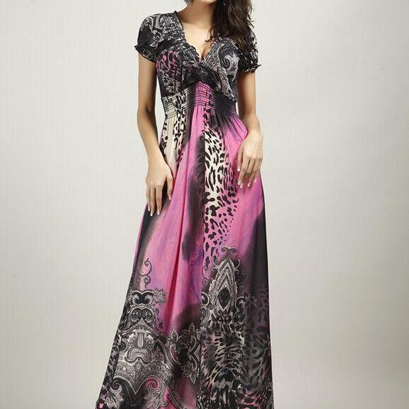 Hot V-Neck new summer beach dress bohemian dress Leopard mopping large size ice silk dress