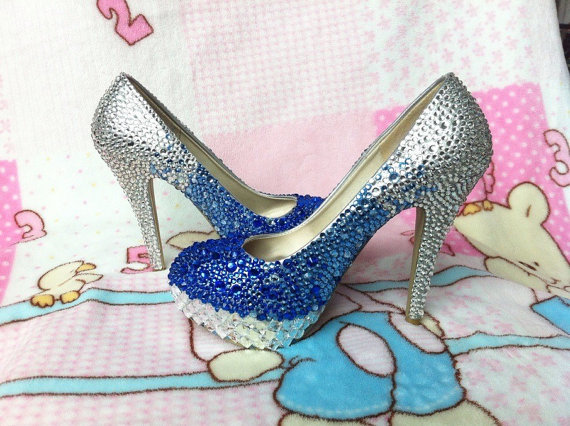 Wedding Heels With Rhinestones: Handmade Rhinestone Royal Blue Silver Gradient Color